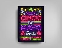 Mall för stil för neon för Cinco de Mayo affischdesign Neontecken, ljus ljus neonreklamblad, ljust baner, typografi, mexikan royaltyfri illustrationer