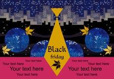 Mall för svart fredag försäljningsbaner med inverterade stads- och höstsidor i nattkosmos Stiliserade mäns band med logo stock illustrationer
