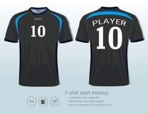 Mall för T-tröjasportdesign för fotbollklubba eller all sportswear Arkivbild