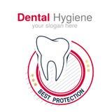 Mall för tandläkarelogodesign Tandsymbol för tand- klinik eller fläck för tand- hygien Rund röd vitsvartdesign royaltyfri illustrationer