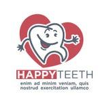 Mall för tecknad filmtandlogo för barntandläkekonst eller tand- etikett för tandkrämproduktetikett vektor illustrationer