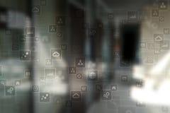 Mall för text, bakgrund för faktisk skärm Affär, internetteknologi och nätverkandebegrepp arkivbild