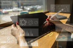 Mall för text, bakgrund för faktisk skärm Affär, internetteknologi och nätverkandebegrepp vektor illustrationer