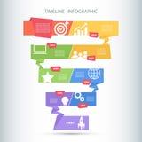 Mall för TimelineInfographic design också vektor för coreldrawillustration Royaltyfri Fotografi