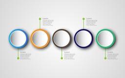 Mall för Timelineinfographicsdesign med 5 alternativ, processdi royaltyfri illustrationer