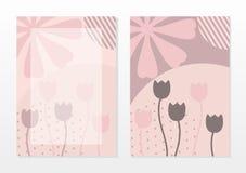 Mall för tomt kort med härlig abstrakt rosa färg royaltyfri illustrationer