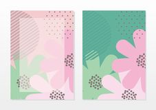 Mall för tomt kort med härliga abstrakta rosa färger och turkosfärg vektor illustrationer