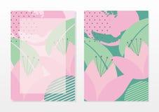 Mall för tomt kort med härliga abstrakta rosa färger och turkosfärg royaltyfri illustrationer