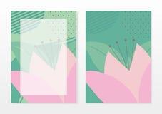 Mall för tomt kort med härliga abstrakta rosa färger och turkosfärg stock illustrationer