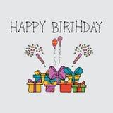 Mall för uppsättningar för beståndsdel för födelsedagberömhändelse vektor illustrationer