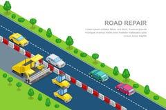 Mall för vägreparationsbaner Isometrisk illustration för vektor 3d Förberedande maskin för rulle och för asfalt på roadworksna royaltyfri illustrationer