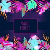 Mall för vändkretsreklambladdesign Tropiska sidor med att glöda för neon Annonsering bakgrund Nattklubb disko, partibaner stock illustrationer