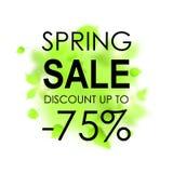 Mall för vårförsäljningsplakat för kortet, plakat, reklamblad, baner, broschyr Gröna suddiga blad på vit bakgrund Arkivbild