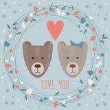 Mall för valentindagkort med roliga tecknad filmbjörnar Arkivfoto