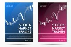 Mall för vektor för aktiemarknadhandelbroschyr Arkivbilder