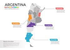 Mall för vektor för Argentina översiktsinfographics med regioner och pekarefläckar royaltyfri illustrationer