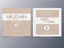 Mall för vektor för bröllopinbjudankort Arkivfoton