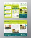 Mall för vektor för design för Real Estate broschyrreklamblad i formatet A4 Royaltyfria Bilder