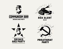 Mall för vektor för design för stång för restaurang för kommunismstillogoer royaltyfri illustrationer