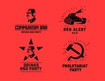 Mall för vektor för design för stång för restaurang för kommunismstillogoer stock illustrationer