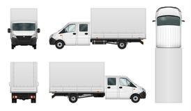 Mall för vektor för leveransskåpbil på vit royaltyfri illustrationer