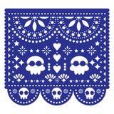 Mall för vektor för kort för för Papel Picado bröllopinbjudan eller hälsning - mexicanskt papper att klippa ut garnering med inge vektor illustrationer