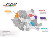 Mall för vektor för Rumänien översiktsinfographics med regioner och pekarefläckar vektor illustrationer