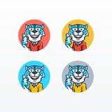 Mall för vektor för Snow Leopardmaskot fastställd stock illustrationer