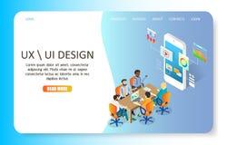 Mall för vektor för website för sida för UX eller UI-designlandning stock illustrationer