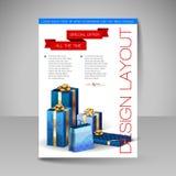 Mall för vektorbroschyrdesign med blåa julgåvor Arkivbild