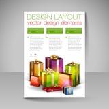 Mall för vektorbroschyrdesign med gröna julgåvor Arkivbild