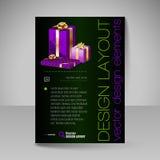 Mall för vektorbroschyrdesign med purpurfärgade julgåvor Royaltyfri Bild