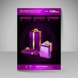 Mall för vektorbroschyrdesign med purpurfärgade julgåvor Royaltyfria Foton