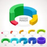 Mall för vektorInfographic diagram 3d charts pien Fotografering för Bildbyråer