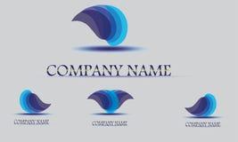 Mall för vektorlogodesign Abstrakt droppe för blått vatten, vågform Royaltyfri Foto