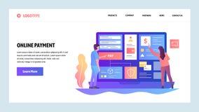 Mall för vektorwebbplatsdesign Online-digital pengarbetalning och överföring för shopping och för internet Landa sidabegrepp vektor illustrationer