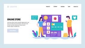 Mall för vektorwebbplatsdesign Online-lager- och internetshopping Betalning för säker internet vid kreditkorten landning vektor illustrationer