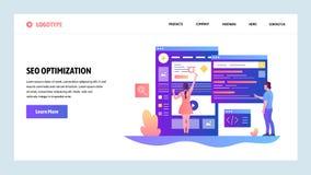 Mall för vektorwebbplatsdesign Sökandemotoroptimization SEO och digital marknadsföring Landa sidabegrepp för stock illustrationer