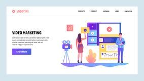 Mall för vektorwebbplatsdesign Video marknadsföring och annonsering Landa sidabegrepp för website och mobil vektor illustrationer