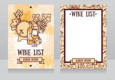 Mall för vinlistan Royaltyfria Bilder