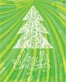 Mall för vit jul med swirly dekorativ tr Royaltyfri Fotografi