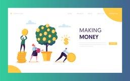 Mall för Website för finansiell tillväxt för affär huvud Kvinna som bevattnar pengarträdet Tecken Team Collecting Golden Coins vektor illustrationer