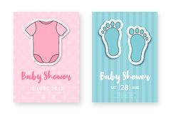Mall f?r baby showerh?lsningkort Ställ in av gulliga affischer för födelsedagpartiet, baby showerhändelse royaltyfri illustrationer