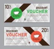 Mall f?r kaffekupongrabatt, presentkort, etikett, baner, annonsering, aff?rsvektor stock illustrationer