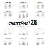 Mall f?r 2019 kalender Jul och lycklig bakgrund f?r nytt ?r stock illustrationer