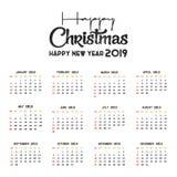 Mall f?r 2019 kalender Jul och lycklig bakgrund f?r nytt ?r vektor illustrationer