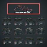 Mall f?r 2019 kalender Jul och lycklig bakgrund f?r nytt ?r royaltyfri illustrationer