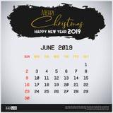 Mall f?r kalender Juni 2019 f?r nytt ?r Bakgrund f?r borsteslagl?ngdtitelrad royaltyfri illustrationer