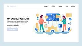 Mall f?r vektorwebbplatsdesign Affärsprojektutveckling och automatiserade lösningar Landa sidabegrepp f?r website vektor illustrationer