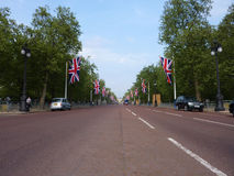 The Mall With Flags 26 April 2011. LONDON - April 26: The Mall Decorated With Patriotic Union Jack Flags. April 26, 2011 in Westminster London, England Royalty Free Stock Images